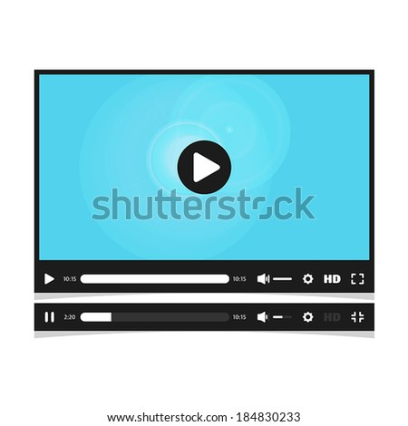 Media player interface. Video online. - stock vector