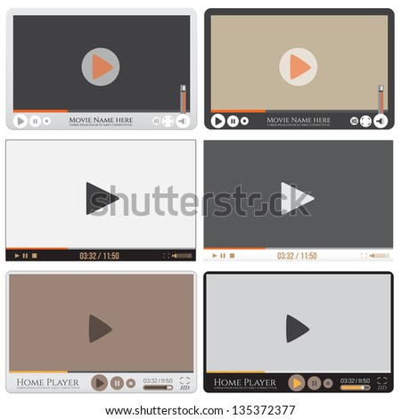 Media player interface. Video player for web, vector illustration - stock vector