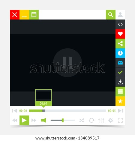 Media player interface with video loading bar and additional movie buttons. Variation 03 (green). Simple solid plain flat tile. Minimal metro cute style. Vector illustration web design element 8 eps - stock vector