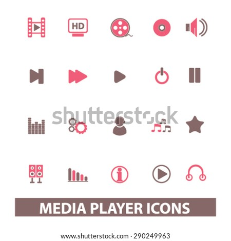 media player isolated icons, signs, illustrations for web, internet, mobile application, vector - stock vector