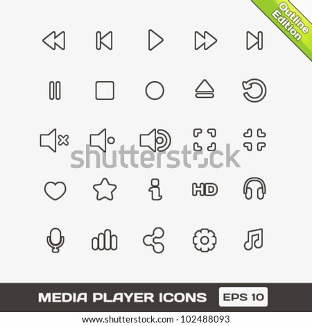 Media Player Outline Vector Icons Set - stock vector
