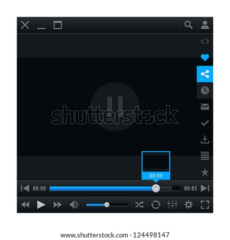 Media player ui interface with video loading bar and additional movie buttons. Variation 02 - Blue color. Modern classic dark style. This vector illustration design element saved in 10 eps - stock vector