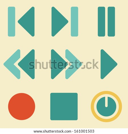 Media player web icons retro color series - stock vector