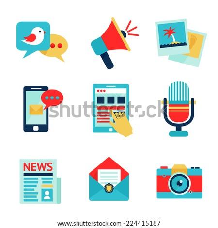 Media social communication network icon set isolated vector illustration - stock vector