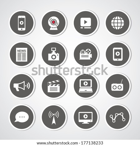 media symbol set for use  - stock vector