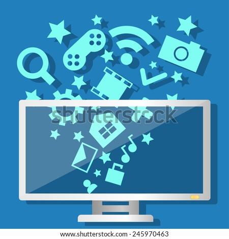 Media Technology Computer - stock vector