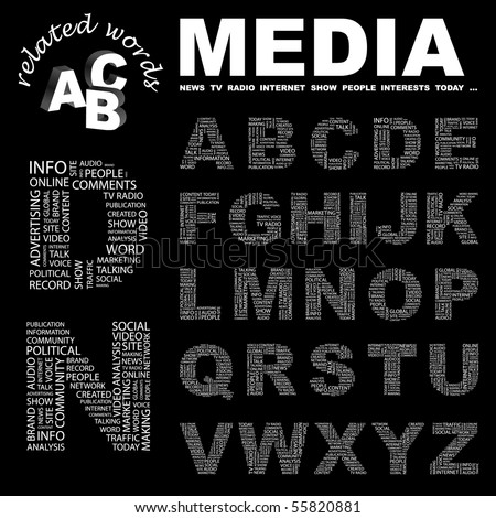 MEDIA. Vector letter collection. Illustration with different association terms. - stock vector