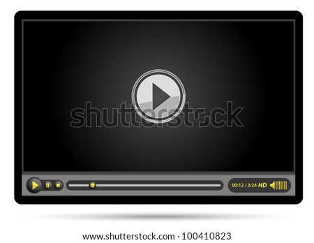 media video black player - stock vector