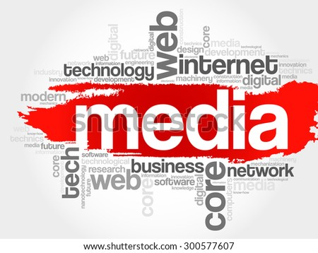Media word cloud, business concept - stock vector