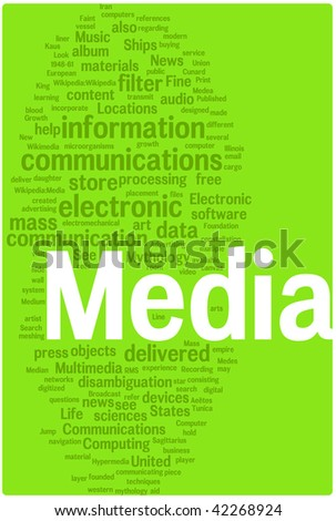 Media word cloud illustration. Graphic tag collection. - stock vector