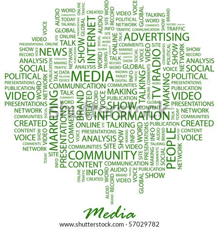 MEDIA. Word collage on white background. Illustration with different association terms. - stock vector