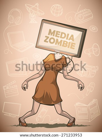 Media zombie women with flat screen tv for a head connected to the body.  Against the background of the objects associated with the mass media - stock vector