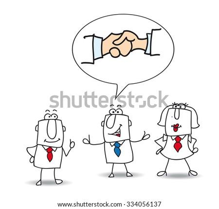 Mediation. Joe is the mediator between Jack and Karen - stock vector