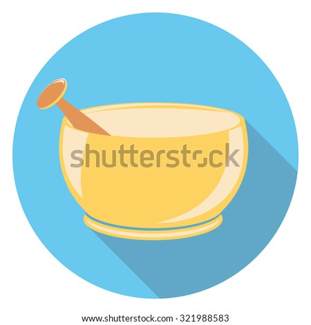 medic cup flat icon in circle - stock vector