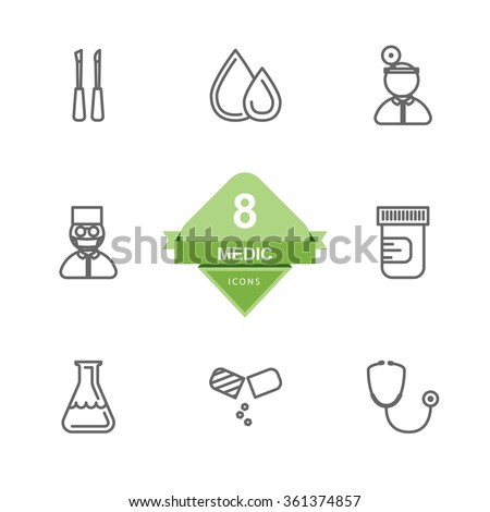Medic Icons ( Line Icons ) - stock vector