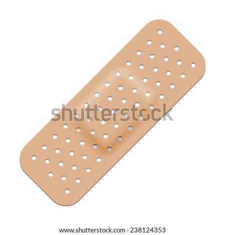 Medical adhesive bandage isolated on white background. - stock vector