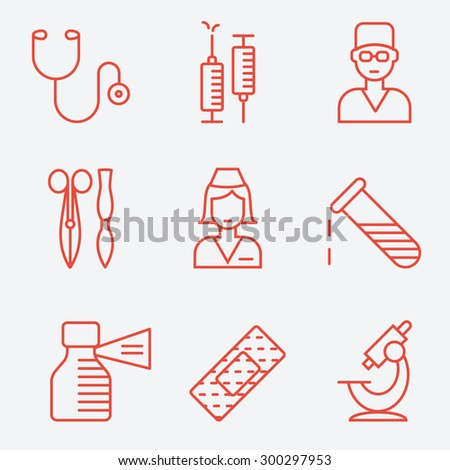 Medical and health care icons, thin line style, flat design - stock vector