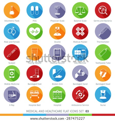 Medical and Health Care Long Shadow Flat Icons Set 03 - stock vector