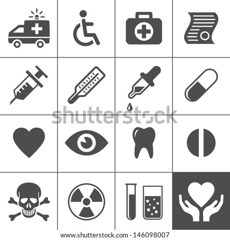 Medical and health icon set. Simplus series. Vector illustration - stock vector