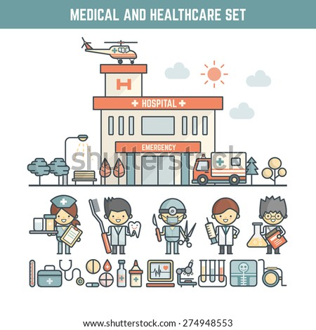 medical and healthcare infographic elements for kid including character and icons - stock vector