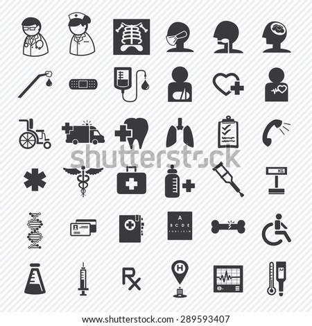 medical and hospital icons set.illustration eps10. SET 1 - stock vector