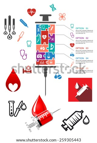 Medical and hospital infographics with icons with syringe, blood and other emergency icons - stock vector
