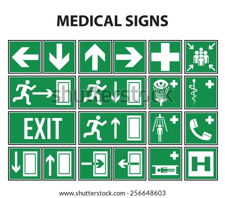 Medical and navigation signs set - stock vector