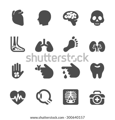 medical and organ icon set, vector eps10. - stock vector
