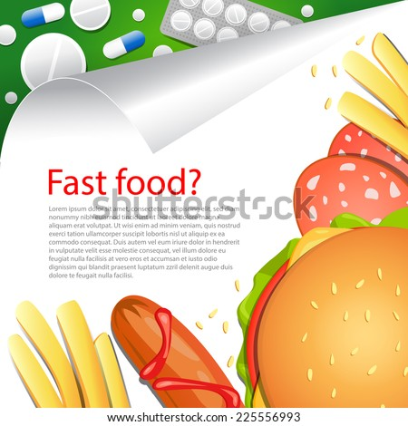 Medical background. Diet. Vector backdrop. Fast food. Health. - stock vector