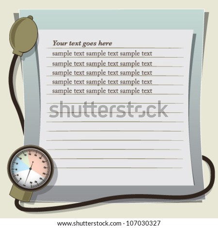 Medical background template with blood pressure meter - stock vector