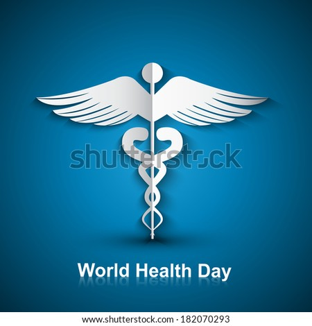 Medical background with Caduceus medical symbol world health day vector design - stock vector