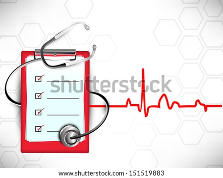 Medical background with stethoscope and doctors prescription pad on heartbeat symbol background. - stock vector