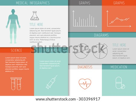 Medical background with thin lines icons - template, user interface for web or print. Can illustrate any medical or healthcare topic. - stock vector