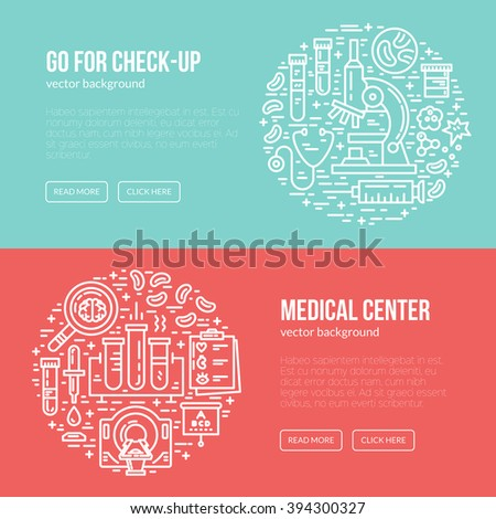 Medical banner design template with different research symbols including MRI, scan, ultrasound. Place for your text. Medical check-up poster. - stock vector