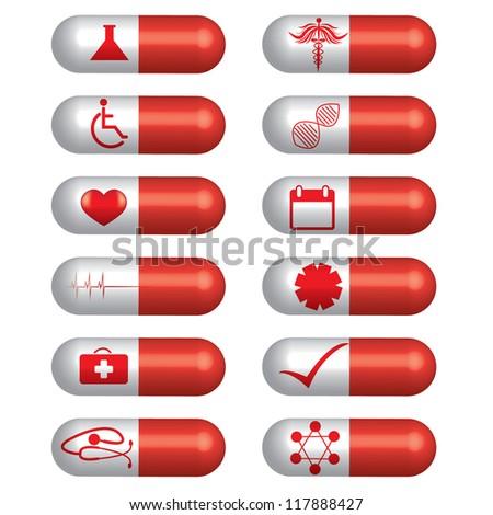 Medical banner set pills - stock vector
