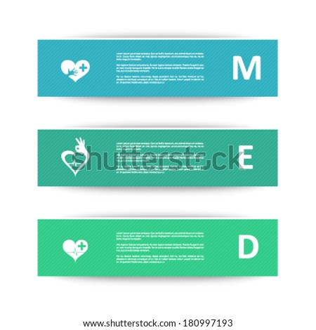 Medical banners for heart condition - stock vector