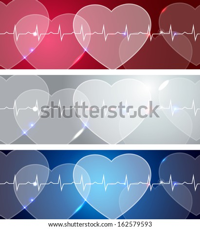 Medical banners, various colors, bright and bold designs. Abstract human hearts and life line. - stock vector
