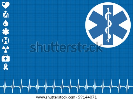 Medical blue background with ekg heartbeat pattern - stock vector