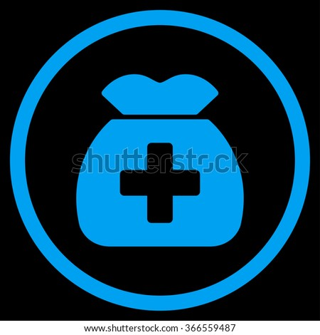 Medical Capital vector icon. Style is flat circled symbol, blue color, rounded angles, black background. - stock vector