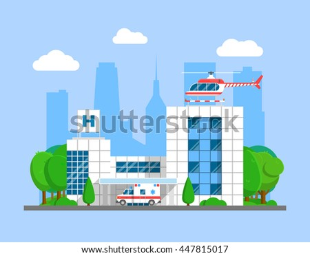 Medical center building with ambulance and helicopter. Flat city hospital and emergency transport vector illustration - stock vector