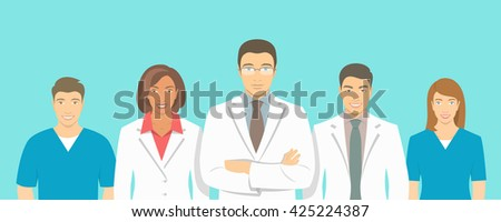 Medical clinic doctors and nurses team vector flat illustration. Group of healthcare specialists, physicians, men and women in white coats. Hospital staff horizontal background. Medicare counseling - stock vector