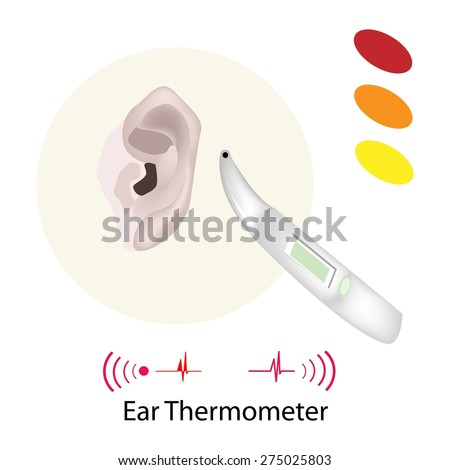 Medical Concept, Illustration of Doctor Using Ear Thermometer for Measuring Body Temperature Isolated on A White Background.  - stock vector