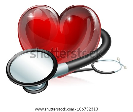 Medical concept illustration of heart shaped symbol and stethoscope - stock vector