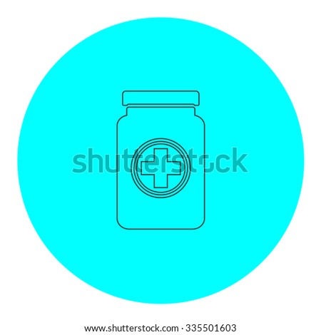 Medical container. Black outline flat icon on blue circle. Simple vector illustration pictogram on white background - stock vector