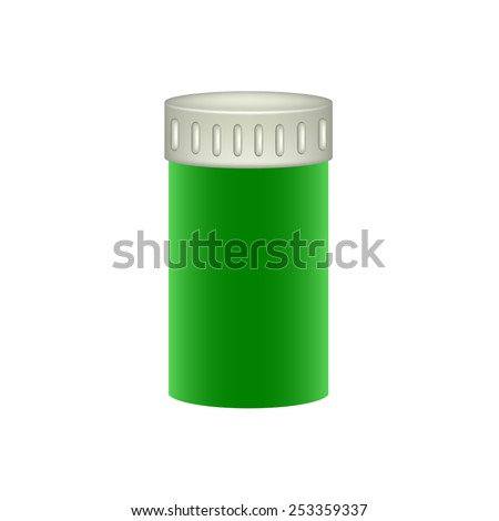 Medical container in green design  - stock vector