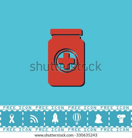 Medical container. Red flat symbol with dark shadow and bonus icon. Simple vector illustration pictogram on blue background - stock vector