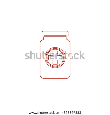 Medical container. Red outline vector pictogram on white background. Flat simple icon - stock vector