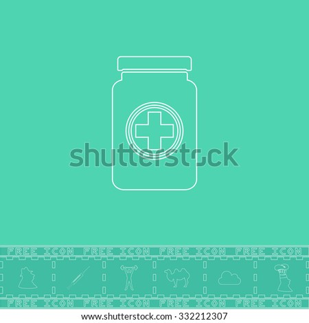 Medical container. White outline flat symbol and bonus icon. Simple vector illustration pictogram on green background - stock vector