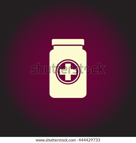 Medical container. White vector icon on dark background. Flat pictogram - stock vector