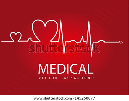 medical design over red background vector illustration - stock vector